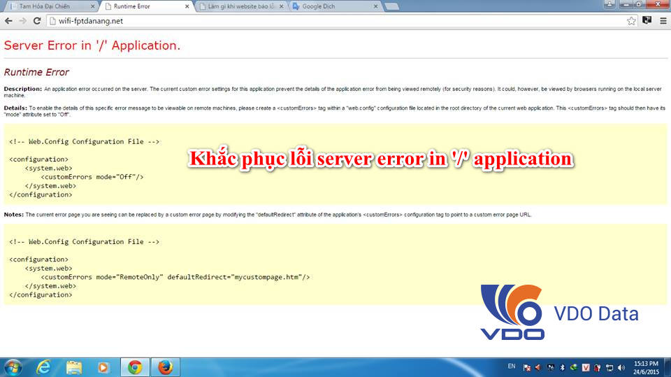 khắc phục lỗi server error in '/' application